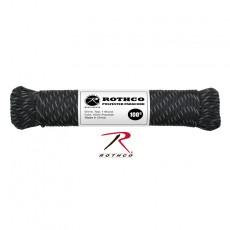 [Rothco] Polyester Paracord - Black w/Reflective Tracers / 로스코 폴리에스테르 파라코드 - 검정 + 반사 끈