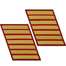 [Vanguard] Marine Corps Service Stripe: Male - gold embroidered on red, set of 7