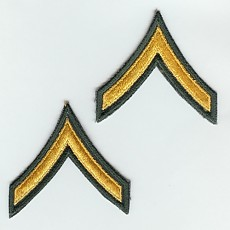 Army Chevron: Private - gold embroidered on green, male