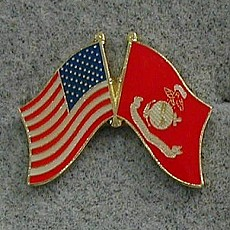 Lapel Pin: Crossed Flags - United States and Marine Corps