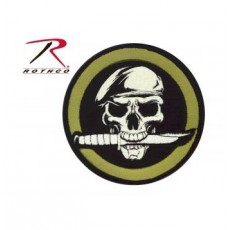 Rothco Military Skull & Knife Patch With Hook Back